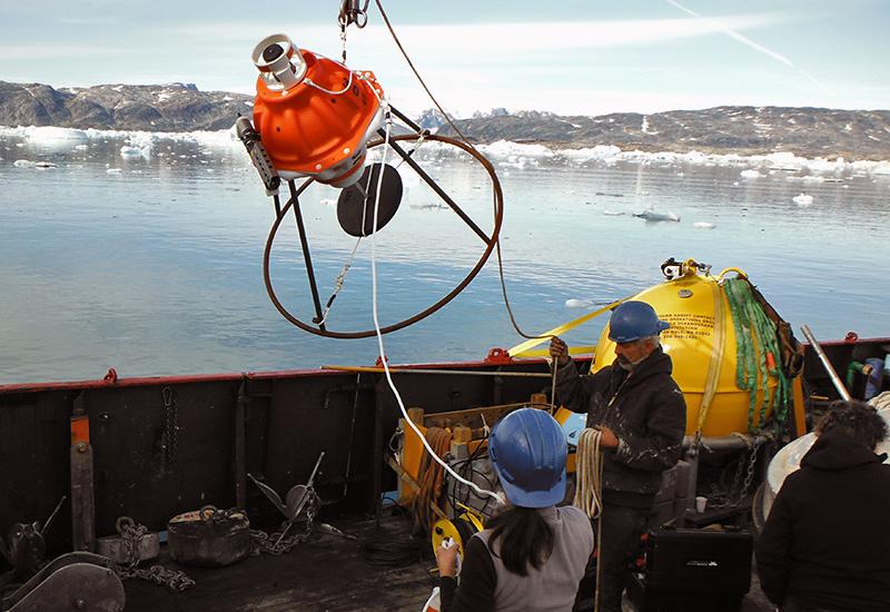 PIES being deployed in Sermilik Fjord in August 2013.